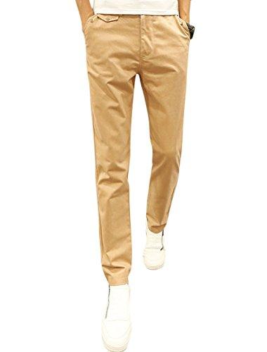 Hommes Bouton Fermé Braguette Zip 4 Poches Slim Fit Conique Pantalon Décontracté Beige