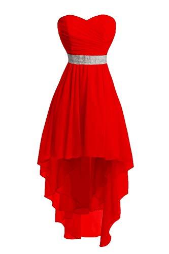 JAEDEN Ballkleider Damen Brautjungfernkleid Hochzeit Partykleid Herzausschnitt Abendkleid Vorne Kurz Hinten Lang Rot EUR40 -