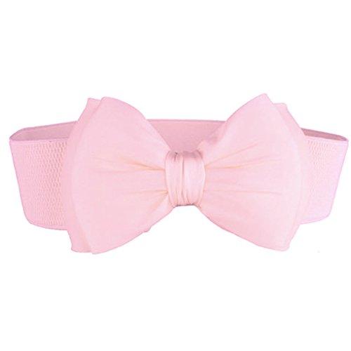 Bobury Frauen-Sommer-PU-Leder-reizend großes Bowtie Bund Mädchen elastisches Kleid Stretch-Taillen-Gurt-Dame Cinch Gürtel Cummerbund Bowties Cummerbunds