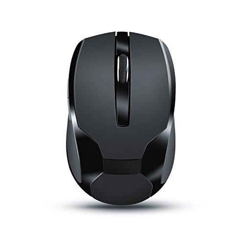 CSL - Ratón inalámbrico para portátil | Wireless Mouse | USB nano receptor 2,4GHz | óptico | diseño ergonómico | perfecto para Ordenador Portátil / PC / Tableta / MacBook | Negro
