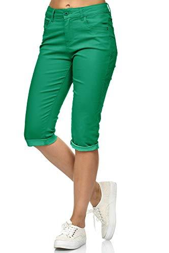 Damen Capri Jeans 3/4 Stretch Bermuda Shorts Big Size Hose, Farben:Grün, Größe Damen:36 / S -