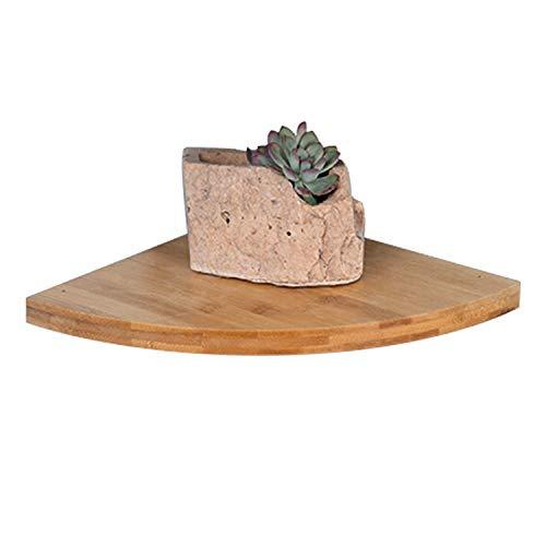 Savorliving mensola angolare in legno mensole a parete mensola galleggiante mensole ad angolo per bagno camera da letto soggiorno cucina ufficio, legno di bambù, large