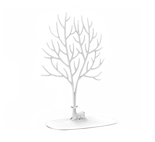 Rings Collier Ornement Sika Deer Tree Jewellery Display Stand Holder Accessory Hanging Organizer Rack Tower (Large, White)
