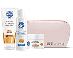 The Moms Co. All Day Glow Vitamin C Routine l Clean & Brighten Skin I Oil Free Look I Instant Glow I Orange Beads I 300 gms