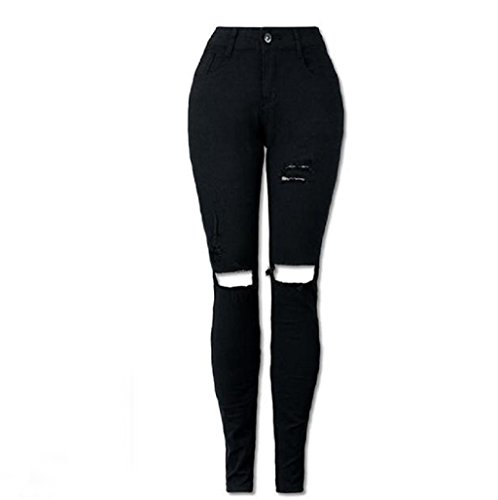Sannysis Pantalones Vaqueros Largos Pantalones Rotos (XL)