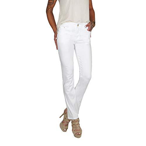 Dresscode-Berlin DB Damen Stretch High Waist Straight Leg Jeans bis Übergröße 38-50 in schwarz, blau und weiß (XXL / 44, Weiß) Stretch-kick Flare Jeans