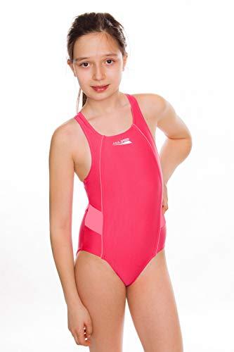 Aqua Speed Ruby Badeanzug Mädchen | Einteiler | UV-Schutz | Blickdicht | Chlorresistent | Anti-Pilling | Schwimmanzug, Größe:128, Farbe:Dunkelrosa
