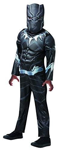 Halloweenia - Jungen Kinder Black Panther Deluxe Kostüm aus Avengers Assemble mit Muskelpolster Einteiler und Haube perfekt für Karneval, Fasching und Fastnacht, 128-140, Schwarz