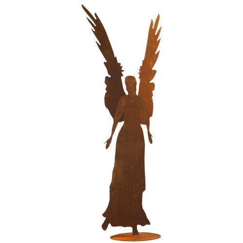Engel Celeste 87cm 3D Doppelte Flügel Rost Edelrost Metall Figur Rostfigur Weihnachtsengel Elfe + Original Pflegeanleitung von Steinfigurenwelt