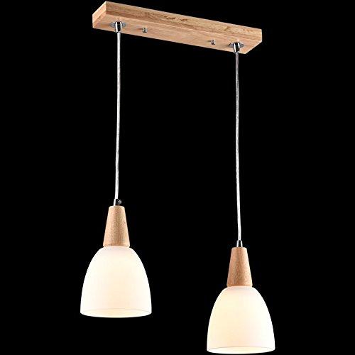 BESPD Moderne, einfache Nordic japanische Massivholz Mahlzeit Kronleuchter Doppel Holz Feld Balken leuchtet - Japanische Laterne Leuchtet