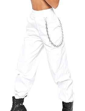 Guiran Mujer Cintura Alta Chino Pantalones Anchos Palazzo Pantalon Baggy Pantalones Harem Jogger Blanco M