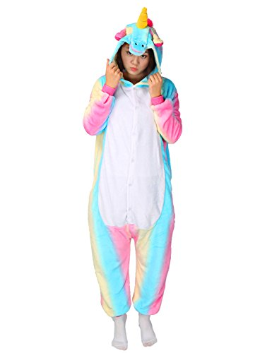 Einhorn Pyjamas Kostüm Jumpsuit Tier Schlafanzug Erwachsene Unisex Fasching Cosplay Karneval (Large, Bunt ()
