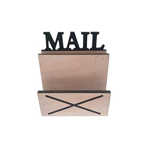 Rebecca Mobili Porte-Courrier, Organisateur Lettres Cles, Range-Documents Mural Bois Clair Noir, Style scandinave, avec 2 Compartiments, Maison – Dimensions: 16 x 18 x 8,5 cm (HxLxL) - Art. RE6284