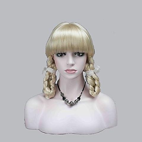 HJL-nuovi scoppi cosplay carino teatro pallido parrucca bionda con due trecce , 613