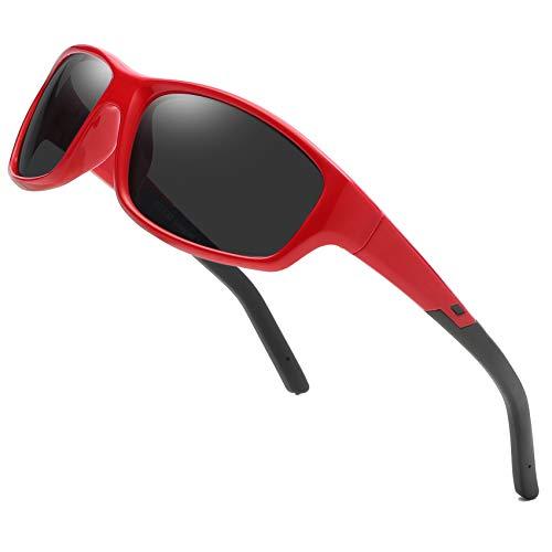 DUCO Kinder Sonnenbrille Polarisierte Sportbrille für Jungen und Mädchen (Rot005 Für Alter 5-12)
