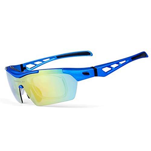 W.zz Sportlicher Sand für Männer und Frauen im Freien mit polarisierten Schutzbrillen und 5 Wechselgläsern Sport Sonnenbrille Fahrradbrille Sportbrille UV400,Royalblue