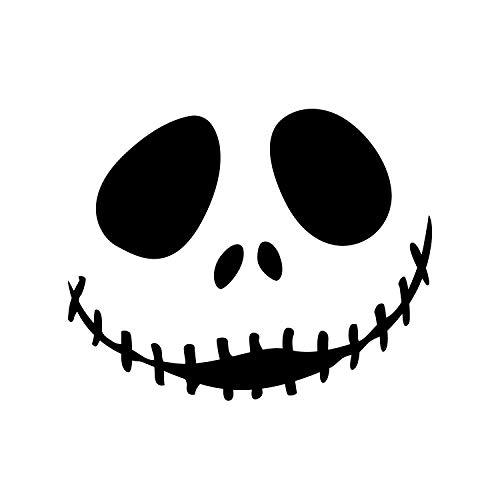 - Jack Skellington Inspiriertes Gesicht - 43,2 x 55,9 cm - lustiger Halloween-Dekorationsaufkleber - Nightmare Before Christmas Indoor Outdoor Wand Fenster Wohnzimmer Büro Decor ()