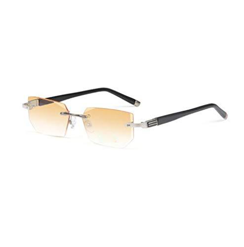 Gafas de lectura, ga vas ultraligeras de alta definición anti-azul, gradiente de fatiga contra radiación, Gafas de lectura de luz de hombre viejo (Farbe : Silber, größe : 3.5X)