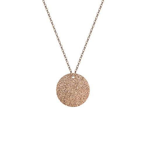Plättchen Halskette mit Glitzer Funkeln Anhänger aus hochwertigem Edelstahl in Farbe Rose-Gold für Frauen runder Schmuck - extrem widerstandsfähiges Material + Gratis Geschenkverpackung