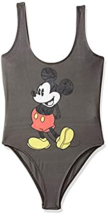 718d1771ba00 ... Forever 21 Women's Mickey Mouse Graphic Bodysuit Logo 207604, Small,  Grey/Black