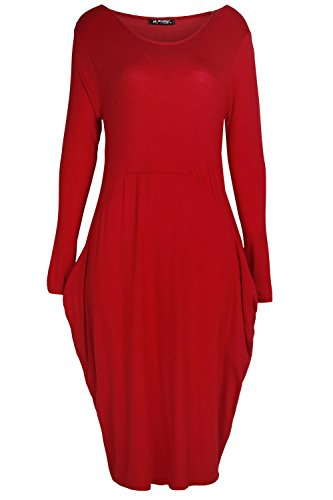 Fashion Star Oops Outlet Womens Italian Drape Lagenlook Long Sleeve Side Pockets Ladies Baggy Midi Dress