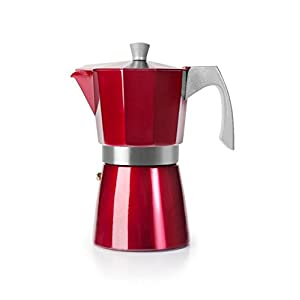 IBILI Espresso Coffee Maker Evva Red 9 Cups, Aluminium, 30 x 30 x 30 cm