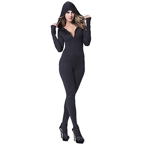 (I-Glam Sexy Ninja Hooded Catsuit, Schwarz, 8820015-M-MFN)