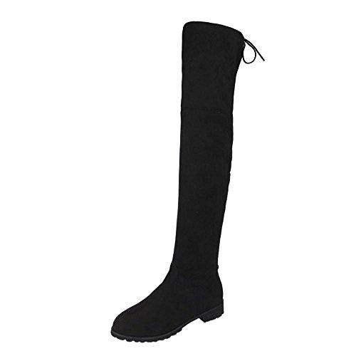 YunYoud Damen Low-Heels Schuhe Frau Slim Fit Hoher Schlauch Schneestiefel Plus Kaschmir Reißverschluss Gummi Stiefel Einfarbig Patchwork Elastizität Klassischer Schnürhalbschuh (38, Schwarz) (Zip-knie-boot)