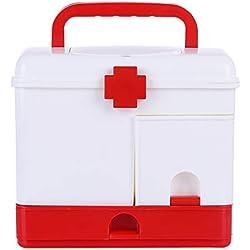 Poxl Mallette médicale avec Compartiment de Rangement, Boîte Multi-Usage à Pharmacie, Multicouche Boîte de Médecine en Plastique pour la Maison Voyage Camping