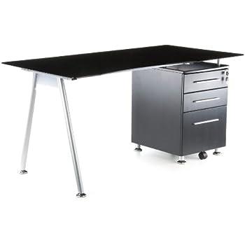 Pharao24 Schreibtisch mit Glasplatte Schubladen: Amazon.de