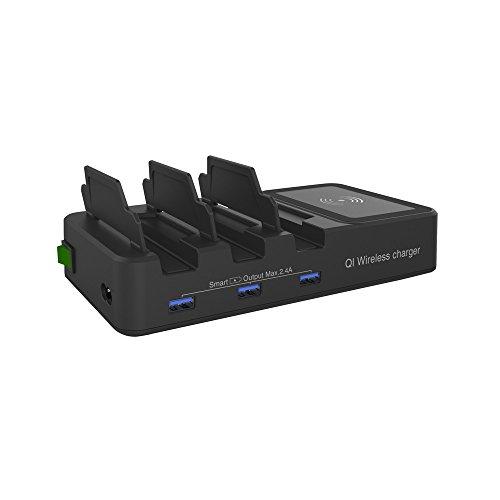 Ic-telefon (Takkar Ladestation Wireless Charger für Telefon - intelligente IC-Technologie zum Schutz vor Überlastung,Überstrom - Klappbare Universal 3 USB Ladestation mit drahtlosem Ladegerät für das Telefon (A))