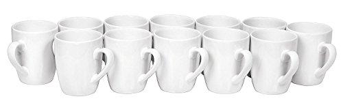 VBS Großhandelspackung 12 Kaffee-Becher Pot Tasse ø 8,5cm H 9,5cm Keramik Tassen weiß Rohling Tee-Tasse Cup