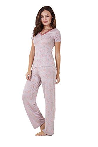 Damen Pyjama - kurzärmlig - mit Blumenmuster - Stretchmaterial Rosa