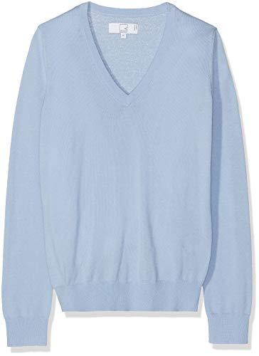MERAKI Merino Pullover Damen mit V-Ausschnitt, Blau (Light Blue), 36 (Herstellergröße: Small) - Blue Wolle Pullover Mit V-ausschnitt