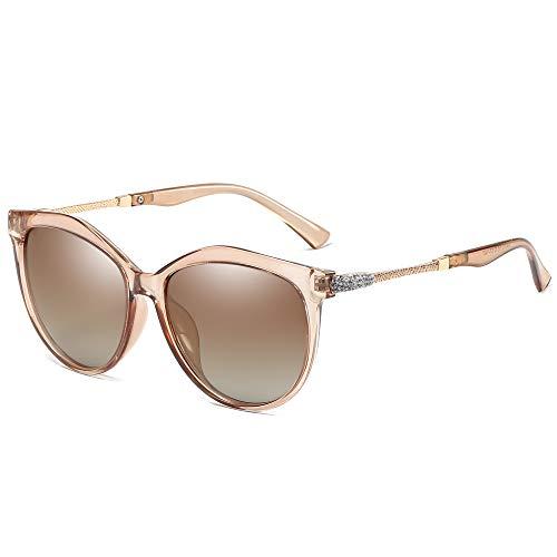 WHCREAT Klassische Mode Polarisierte Sonnenbrille für Damen Cat-Eye UV400 Schutz Farbverlauf Linse - Tee Rahmen Grau Linse