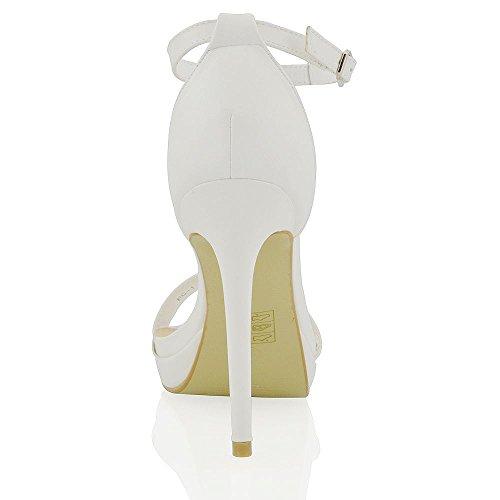 Essex Glam Scarpa Donna Peep Toe Tacco Alto Allacciatura Caviglia Bianco Pelle sintetica