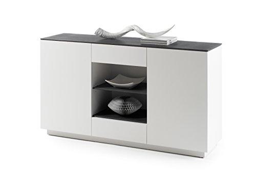 Robas Lund, Sideboard, Kommode, Darwin, weiß/ Steinoptik, 40 x 157 x 87 cm, 48953WG4