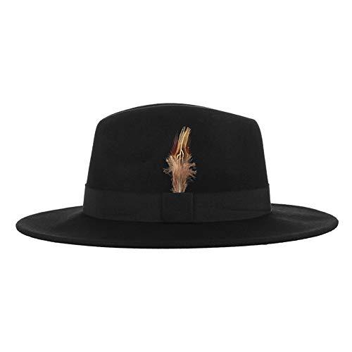 HSINCERELY Woolen Zylinder-männlicher britischer Jazz-Hut-weiblicher Feder-Gentleman-Fedora-Hut Herbst und Winter  schwarz Kopfumfang: 58cm Krempe: 7cm Tiefe: 11cm