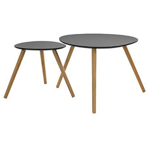 PEGANE Set de 2 Tables Basses Gris en Bois - GM : L60 x H48 cm, PM : L40 x H40 cm