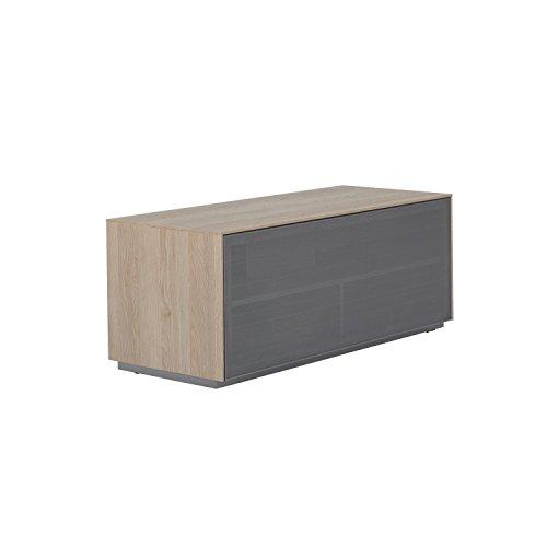 Outline 1050 Meuble TV AV Support - perforé en aluminium Porte en maille filet - Idéal pour barres de son - Design anglais Chêne naturel