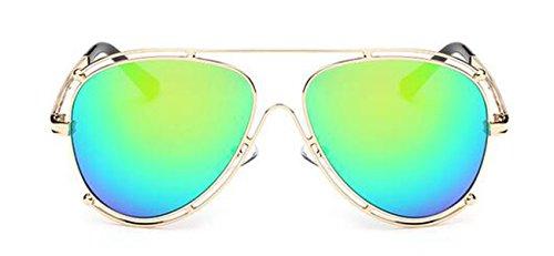Doppel-Ring Metall Sonnenbrille Sonnenbrille Sonnenbrille Für Männer Und Frauen In Europa Und Amerika,Green-OneSize