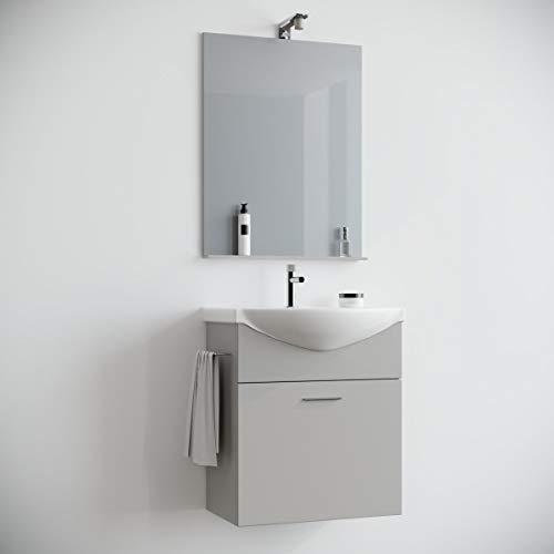 MarinelliGroup Mobile Bagno salvaspazio sospeso 60 Grigio Perla Opaco con lavabo Ceramica Specchio e Luce Papavero