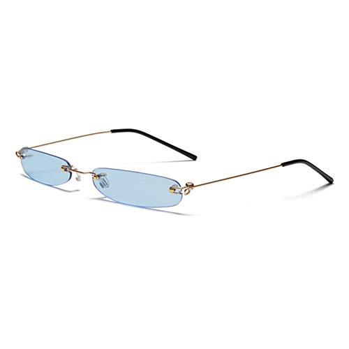 ZRTYJ Sonnenbrille Schmale Sonnenbrille Männer Randlose Sommer Rechteckige Sonnenbrille Für Frauen Kleines Gesicht Heißer