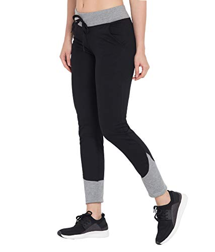 Cliths Women's Slim Fit Cotton Active Sports & Fitness Track Pants, Yoga Pant for Gym, Lower (AC-WL-06_XL_Black & Light Grey_X-Large)