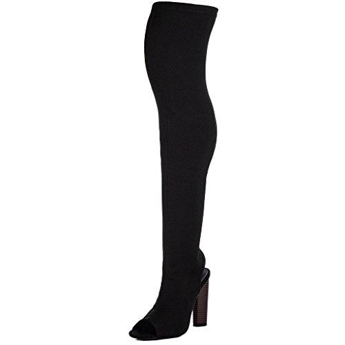 SPYLOVEBUY STRICK Damen Peep-Toe Blockabsatz Overknee Stiefel Schwarz - Synthetik