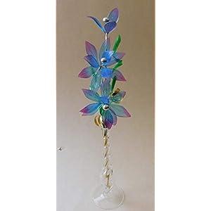 Glasblume tolle Blume aus Glas blau-dunkelrosa mit Vase Qualität