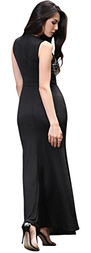 Jeansian Femme Mode ete Robe Sans Manches Sexy Women's Summer Evening Cocktail Dress Sexy Fishtail Party Dresses WHS463 Black