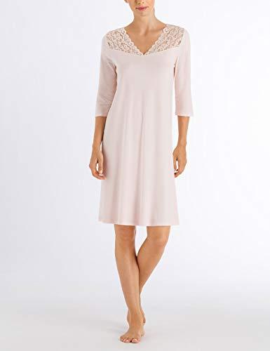 Hanro Damen Moments Nw 3/4 Arm 100 cm Nachthemd, Rosa (Crystal Pink 071334), 40 (Herstellergröße: S) - Hanro Moments Spitze