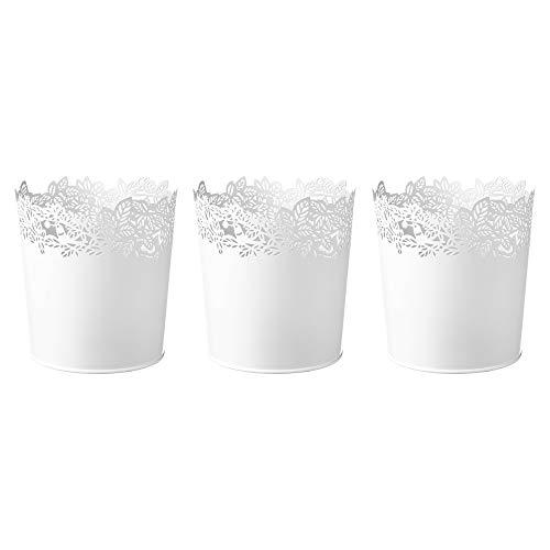 Ikea Samverka - Set di 3 vasi per piante in acciaio, 12 cm, colore: Bianco