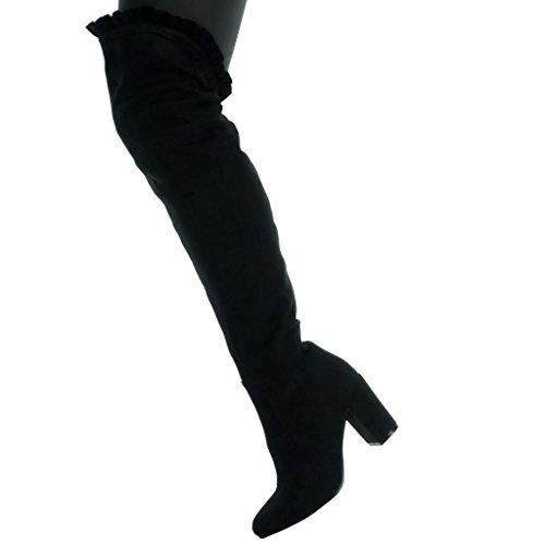 Angkorly Damen Schuhe Oberschenkel-Boot - Reitstiefel - Kavalier - Sexy - Flexible Blockabsatz High Heel 8 cm Schwarz